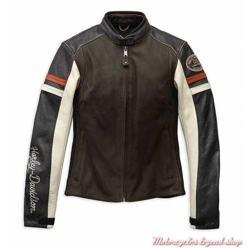 Blouson cuir Delmita Harley-Davidson femme, marron, vintage, CE, 98044-19EW
