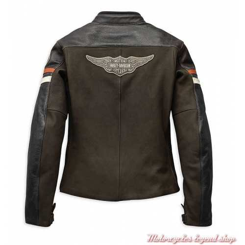 Blouson cuir Delmita Harley-Davidson femme, marron, vintage, CE, dos, 98044-19EW