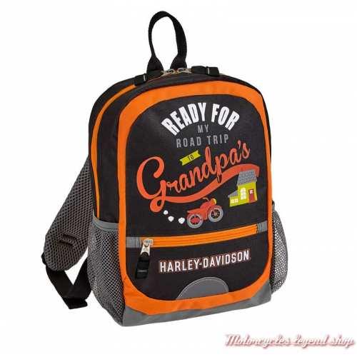 Mini sac à dos enfant textile Grandpa's Harley-Davidson, noir, orange, 99842