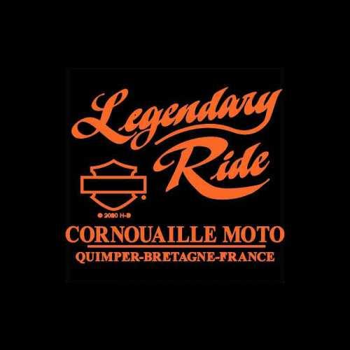 Tee-shirt Multiply Harley-Davidson femme, noir, strass, manches courtes, backprint Cornouaille Moto Quimper Bretagne R003430