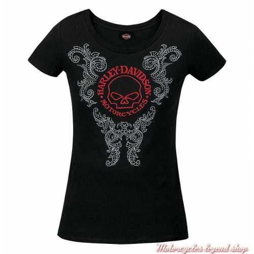 Tee-shirt Refined G Harley-Davidson femme, noir, brodé, coton, manches courtes, Cornouaille Moto Quimper Bretagne R003597