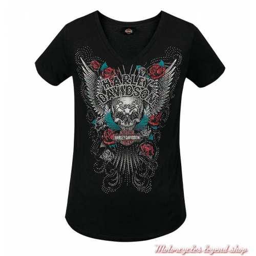 Tee-shirt Elaborate Harley-Davidson femme, noir, rayonne, strass, manches courtes, Cornouaille Moto Quimper Bretagne R003606
