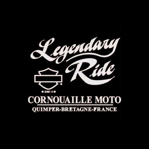 Tee-shirt Elaborate Harley-Davidson femme, noir, rayonne, strass, manches courtes, backprint Cornouaille Moto Quimper Bretagne