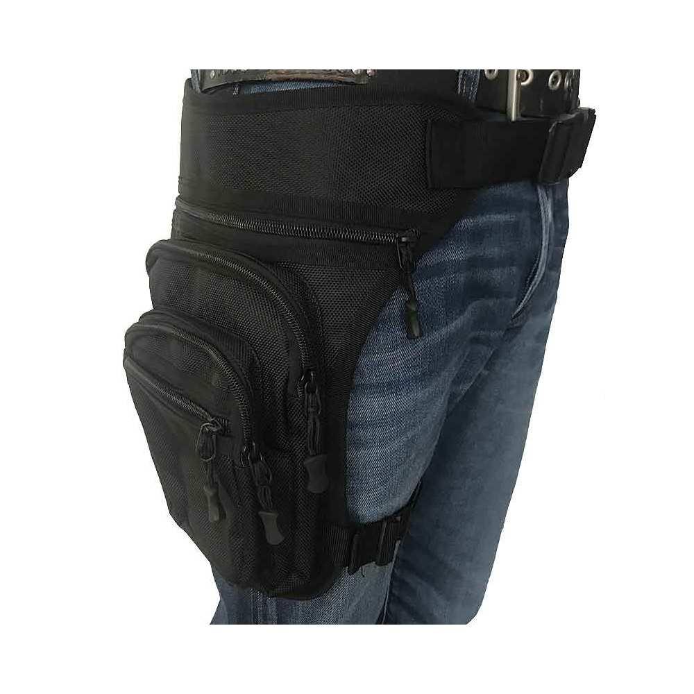 Sac de jambe cuisse unisexe, polyester noir, attaches réglables