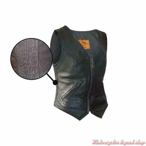 Gilet cuir Patty Aussie Apparel femme, noir, zippé, ajustement côtelé, à customiser