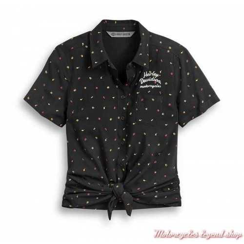 Chemisier Allover Print Harley-Davidson femme, noir, manches courtes, rayonne, rétro, noué, 96348-20VW