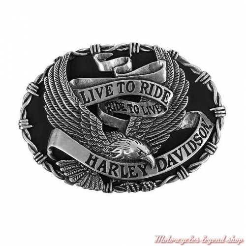 Boucle Breezer homme metal noir mat et zinc, aigle, Harley-Davidson HDMBU10449
