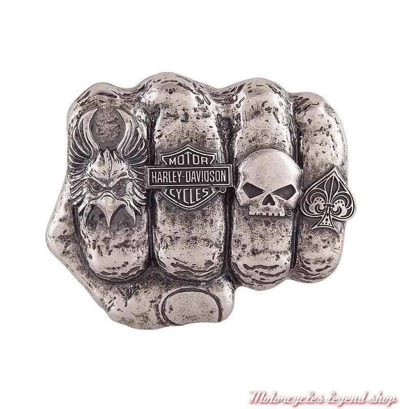 Boucle Fist Forward homme Harley-Davidson, poing fermé, doigts bagués, métal antique, HDMBU11417