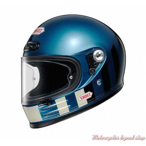 Casque The Glamster Resurrection TC-2 bleu Laguna Shoei, bandes, noires, écru