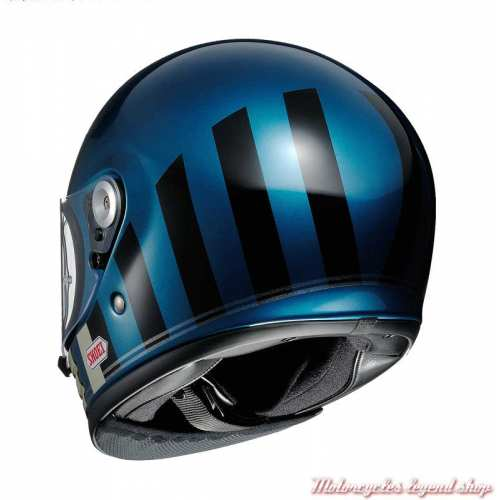 Casque The Glamster Resurrection TC-2 bleu Laguna Shoei, bandes, noires, écru, dos