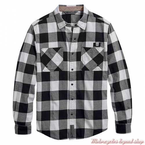 Chemise à carreaux Buffalo Harley-Davidson, noir, blanc, coton, manches longues, 99017-20VM