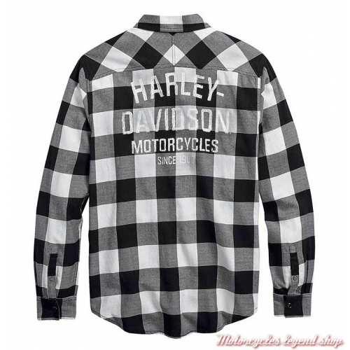 Chemise à carreaux Buffalo Harley-Davidson, noir, blanc, coton, manches longues, dos, 99017-20VM
