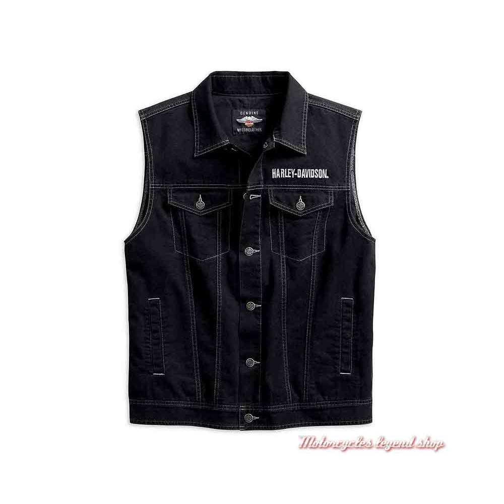 Veste en jean Upright Eagle sans manche Harley-Davidson, noir, aigle, 98415-19VM