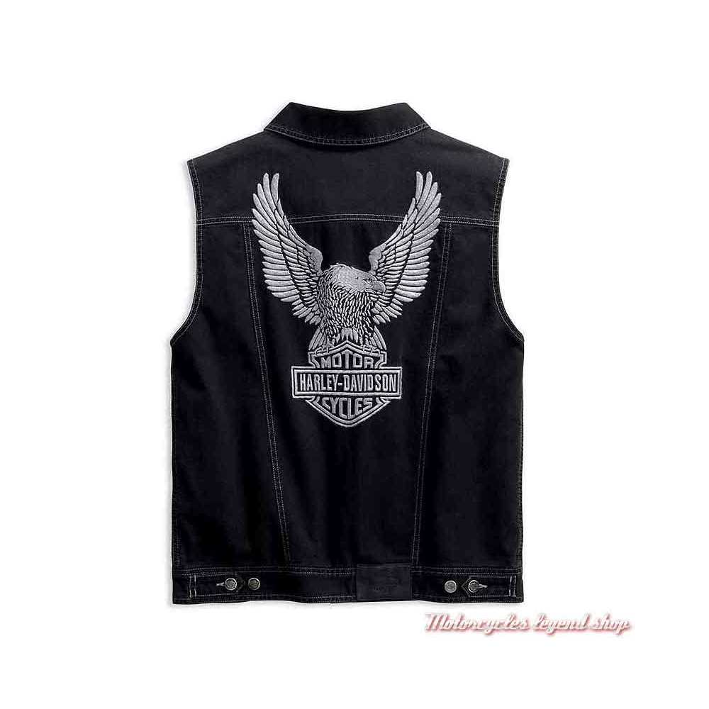 Veste en jean Upright Eagle sans manche Harley-Davidson, noir, aigle, dos, 98415-19VM