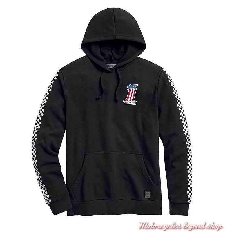 Sweatshirt Checkered Harley-Davidson homme, noir, à capuche, damier, 99031-20VM