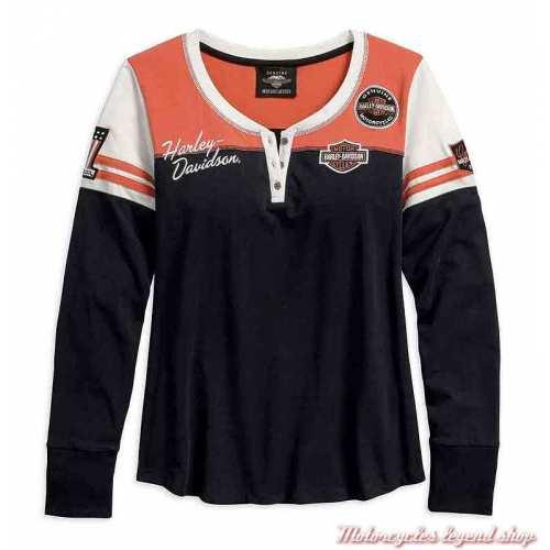 Tee-shirt Classic Colorblock Harley-Davidson femme, manches longues, noir, orange, écru, coton, 99075-18VW