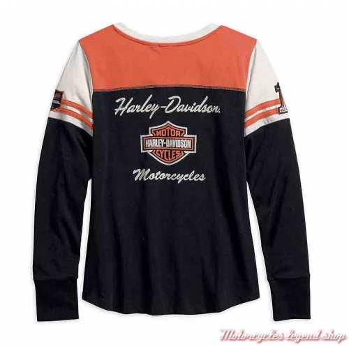 Tee-shirt Classic Colorblock Harley-Davidson femme, manches longues, noir, orange, écru, coton, dos, 99075-18VW