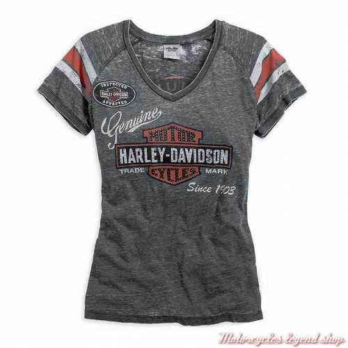 Tee-shirt Genuine Oil Can, femme, manche courtes, col V, strass, gris, coton et polyester, Harley-Davidson 99196-14VW