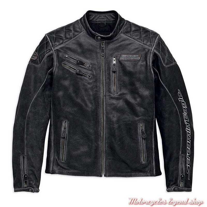 Blouson cuir Screamin' Eagle Harley-Davidson homme, noir, surpiqures, 98032-18EM