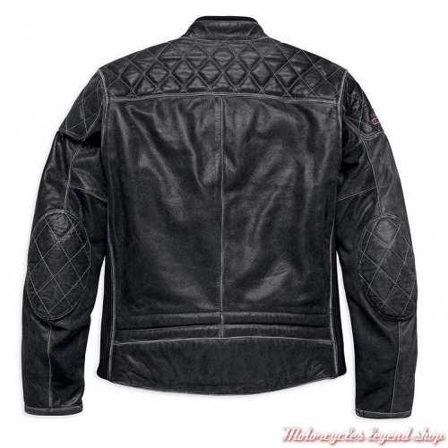 Blouson cuir Screamin' Eagle Harley-Davidson homme, noir, surpiqures, dos, 98032-18EM