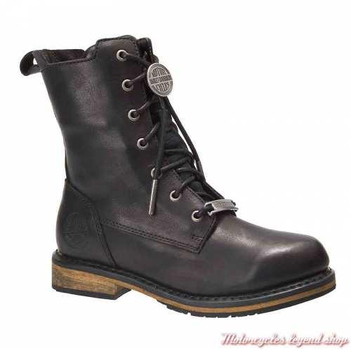 Chaussures Heslar Harley-Davidson femme, lacets, zip, cuir noir, waterproof, homologuées, D86121