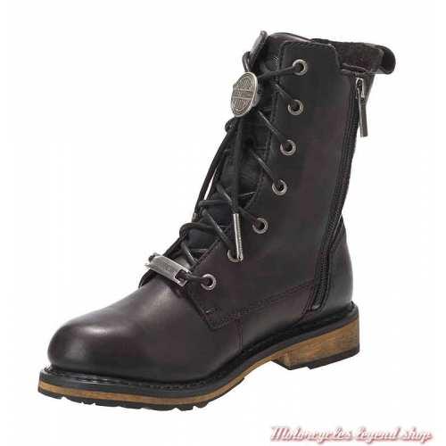 Chaussures Heslar Harley-Davidson femme, lacets, zip, cuir noir, waterproof, homologuées, D86121-2