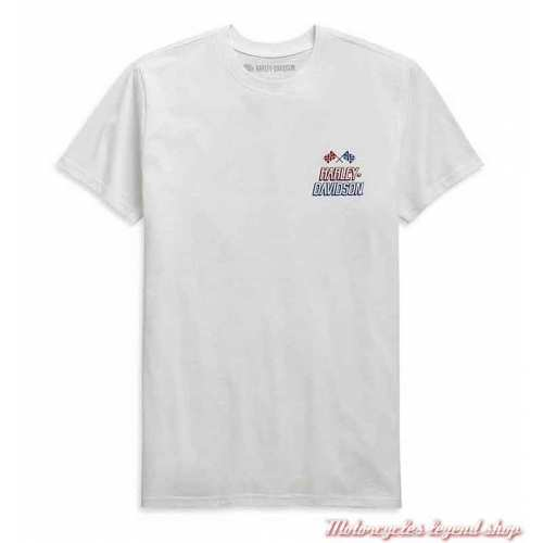 Tee-shirt Race Flag Harley-Davidson homme, blanc, manches courtes, coton, H-D Garage, 99089-20VH