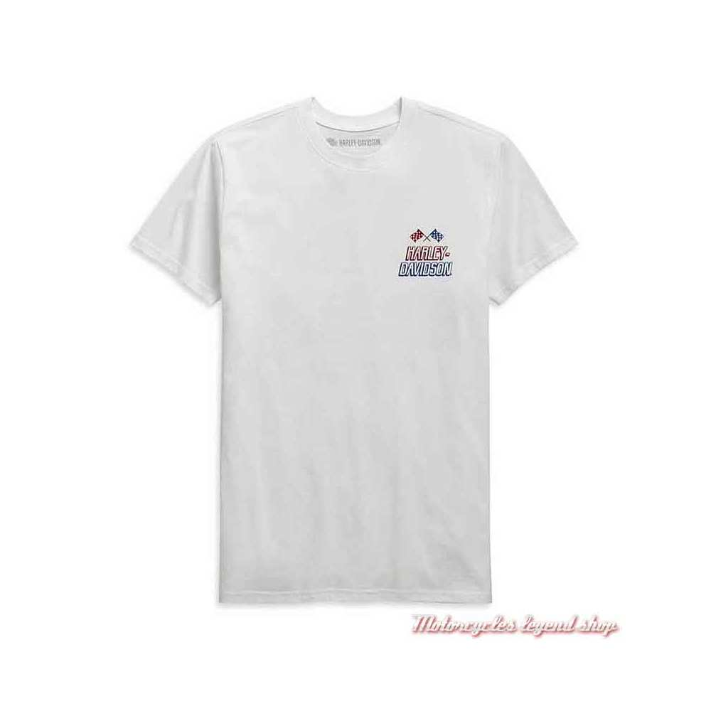Tee-shirt Race Flag Harley-Davidson homme, blanc, manches courtes, coton, H-D Garage, 99089-20VH