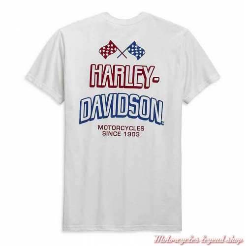 Tee-shirt Race Flag Harley-Davidson homme, blanc, manches courtes, coton, H-D Garage, dos, 99089-20VH