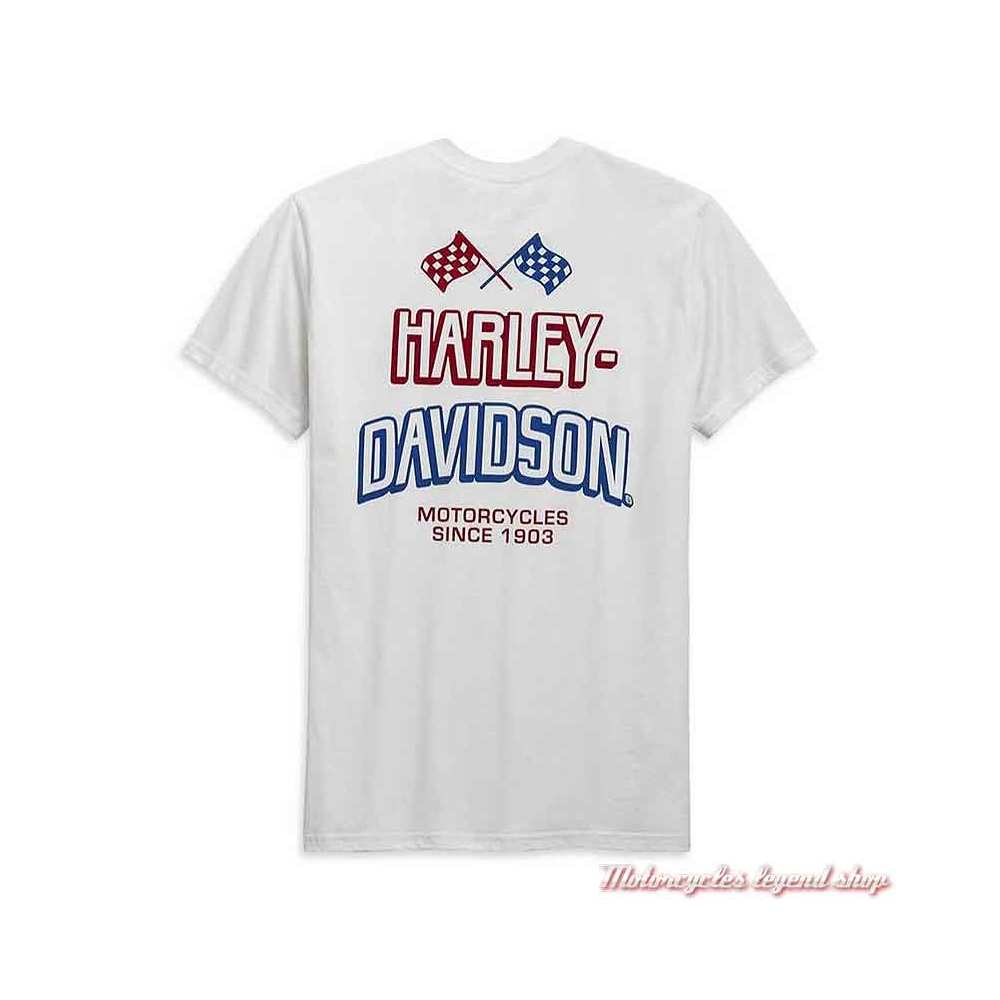 Tee-shirt Race Flag Harley-Davidson homme, blanc, manches courtes, coton, H-D Garage, dos, 99089-20VH