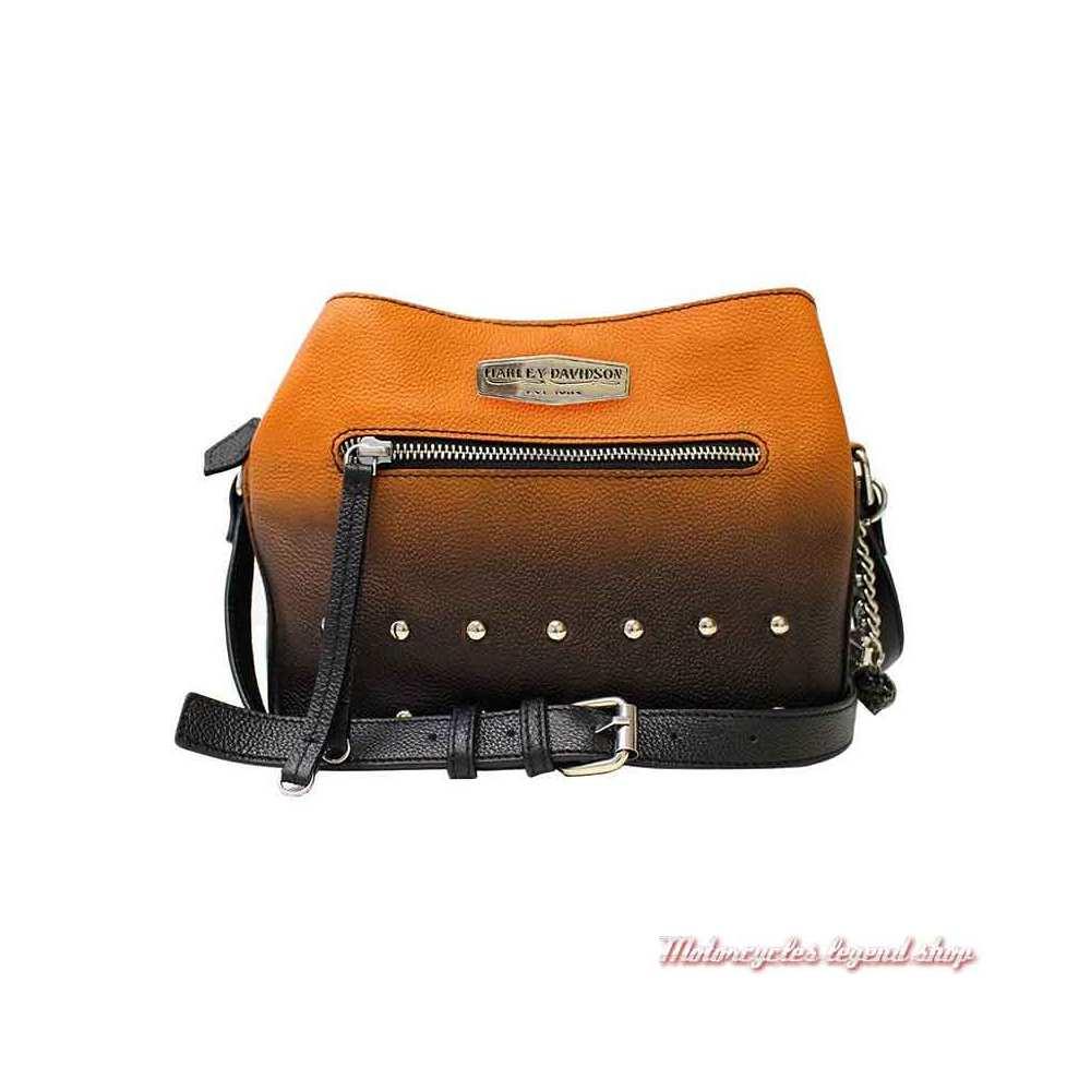 Sac à main cuir Ombre Harley-Davidson, dégradé orange, noir, rivets metal, OL1435-ORGBLK