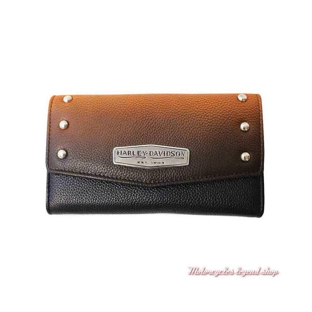 Portefeuille cuir Ombre femme Harley-Davidson, dégradé orange, noir, rivets metal, OL1479L-ORGBLK
