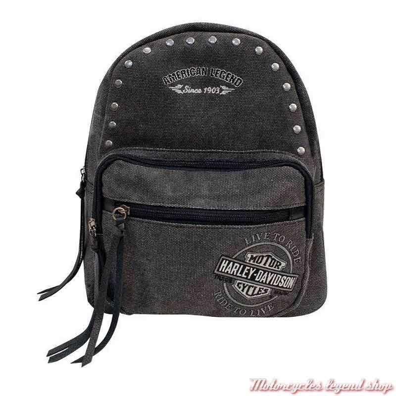Petit sac à dos Denim femme Harley-Davidson, noir gris, brodé, rivets metal, WDD8608-CHARCOAL