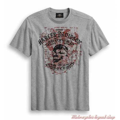 Tee-shirt Schematic Skull Harley-Davidson homme, gris, manches courtes, coton, polyester, 96386-20VM