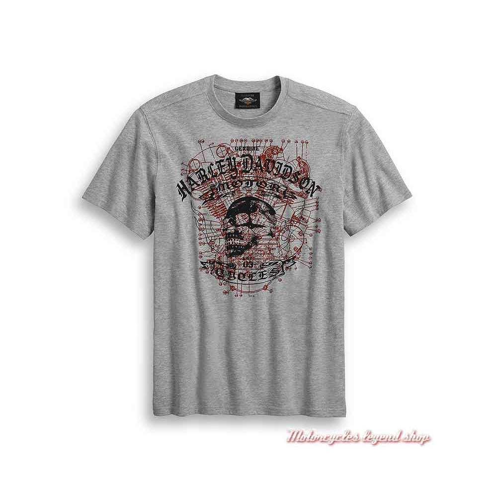 Tee-shirt Schematic Skull Harley-Davidson homme, gris, manches courtes, coton, polyester, 96386-20VM