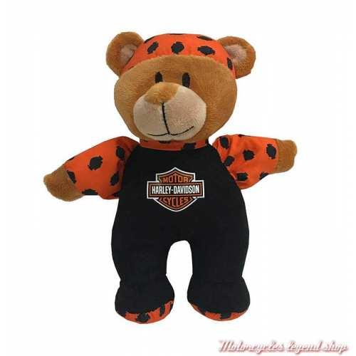Hochet ourson Harley-Davidson, peluche, noir, orange, 20 cm, 9950841