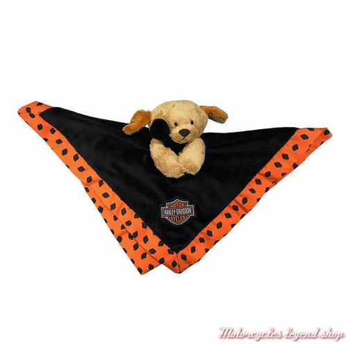 Doudou chiot Harley-Davidson, peluche, noir, orange, 35 cm, 9950831