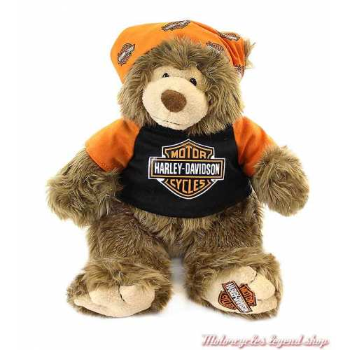 Peluche Big Ed Harley-Davidson, habits noir, orange, 30 cm, 9950849