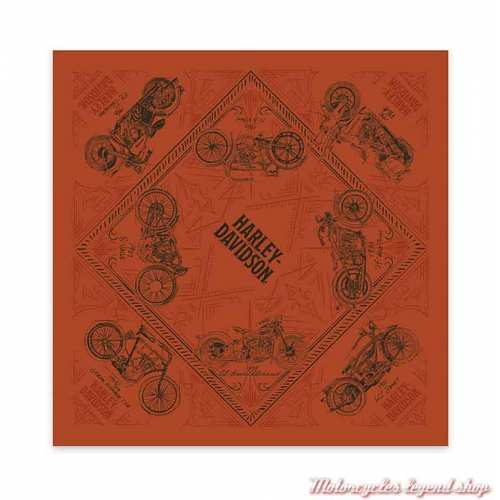 Bandana Timeline Harley-Davidson, polyester, orange, noir, BA34538