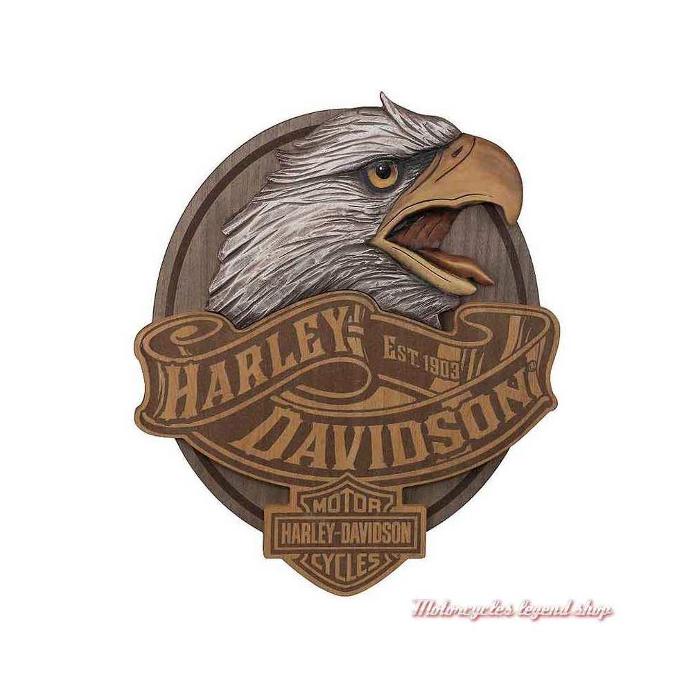 Panneau Eagle Harley-Davidson, bois sculpté, HDL-15322