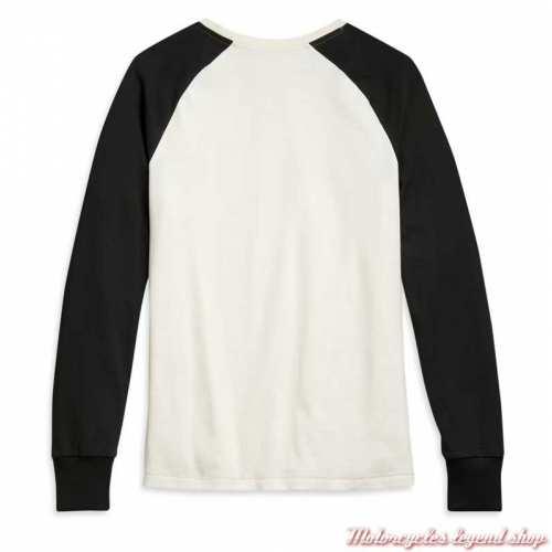Tee-shirt Colorblock Harley-Davidson femme, manches longues raglan, noir, écru, coton, dos, 96092-21VW
