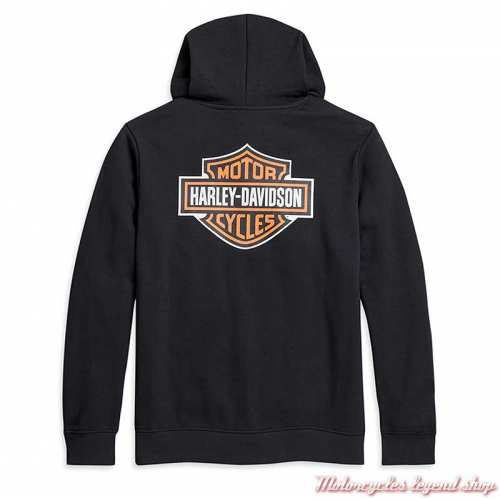 Sweatshirt Logo Harley-Davidson homme, capuche, noir, Bar & Shield orange, coton, dos, 96016-21VM