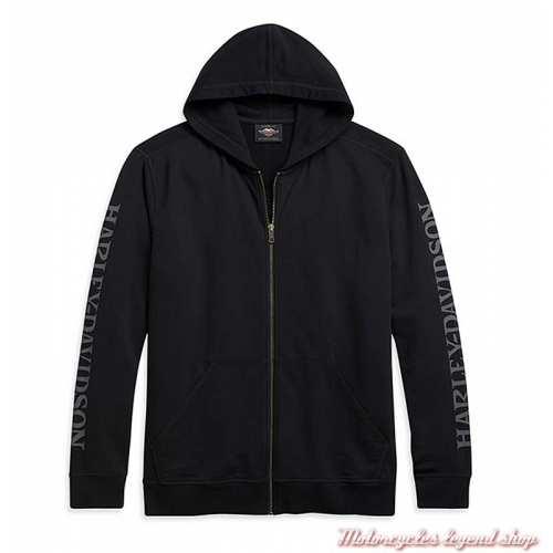 Sweatshirt Skull Harley-Davidson homme, zippé, capuche, noir, coton, 96173-21VM