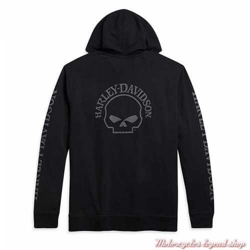 Sweatshirt Skull Harley-Davidson homme, zippé, capuche, noir, coton, dos, 96173-21VM