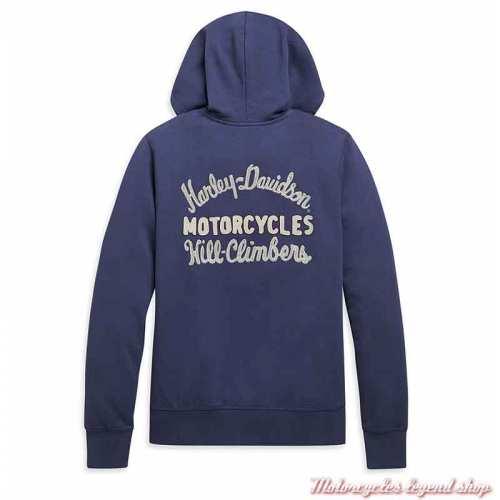 Sweatshirt Chain Script Harley-Davidson femmezippé, capuche, bleu, coton, dos, 96089-21VW