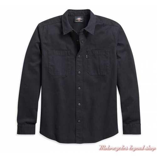 Chemise Solid Twill Harley-Davidson, noir, manches longues, sans graphisme, coton, 96049-21VM