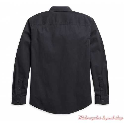 Chemise Solid Twill Harley-Davidson, noir, manches longues, sans graphisme, coton, dos, 96049-21VM