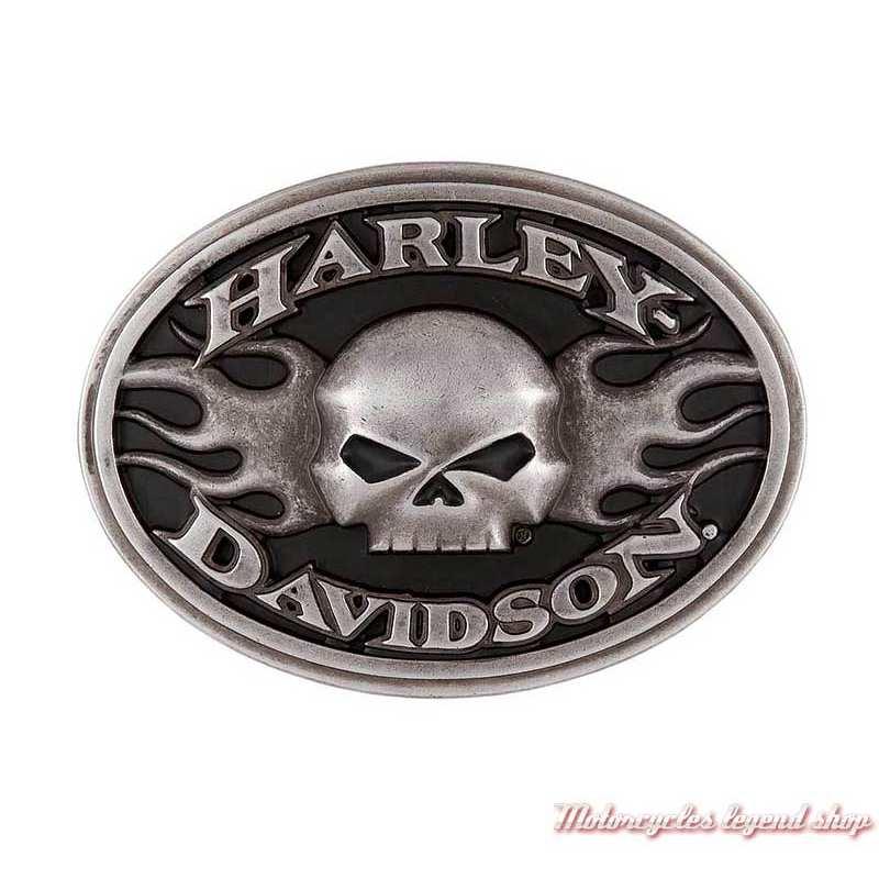 Boucle Roaring homme Harley-Davidson, métal antique, noir, skull, HDMBU11701
