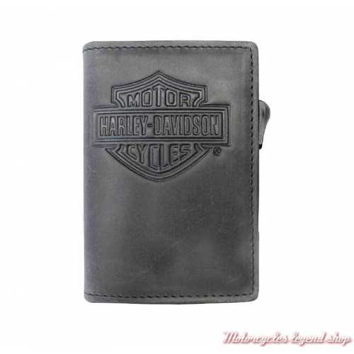 Porte carte cuir Click Harley-Davidson, noir gris, MCH8428-GRYBLK