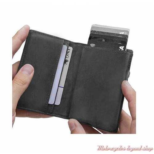 Porte carte cuir Click Harley-Davidson, noir gris, intérieur, MCH8428-GRYBLK